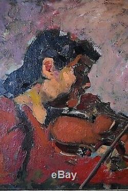 Ancien tableau HSC La violoniste musique impressionnisme Expressionnisme XXe