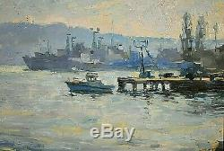Ancien tableau HSP Marine bateaux Matvey REZANOV (1974) Russe XXe
