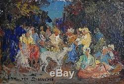 Ancien tableau HSP élégantes et lévrier au jardin signé Jacques Van Den Bussche