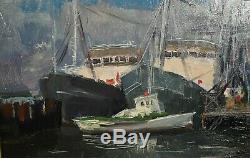Ancien tableau HSP port de Klaipeda Lituanie Baltique signé Ivan Vostpavitch XXe