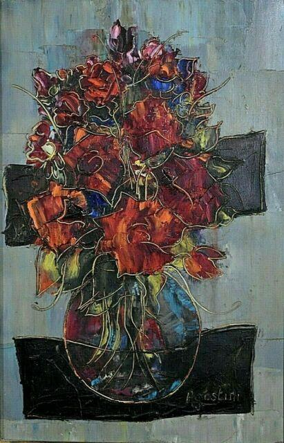 Ancien Tableau Hst Nature Morte Au Bouquet De Fleurs Signé Tony Agostini Xxe