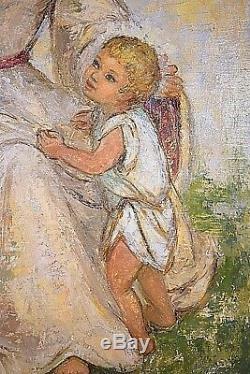 Ancien tableau HST Vierge à l'enfant signé Gin Coste-Crasnier surréalisme XXème
