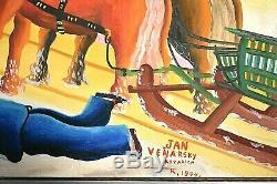 Ancien tableau HST la course au coq personnages signé Jan Venarsky Naïf XXe