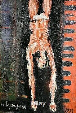 Ancien tableau HST les trapézistes Ramón LAPAYESE (1928-1994) école Espagnole XX