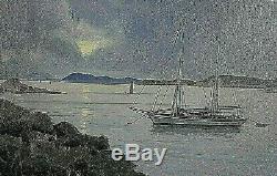 Ancien tableau HST marine paysage Hyères Porquerolles Côte d'Azur signé XXème