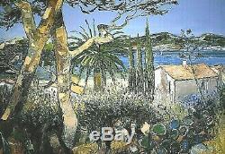 Ancien tableau HST paysage marin environs de Cannes signé André Deymonaz XXe