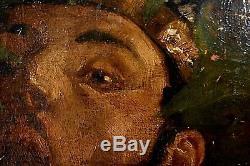 Ancien tableau HST portrait de Pan Mythologie signé André Pierre Lupiac déb XXe