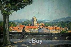 Ancien tableau HST vue animé de la terrasse du Peyrou Montpellier signé XXe
