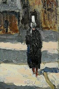 Ancien tableau HST vue de village breton Dinan animé signé Maurice Martin XXe