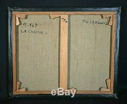 Ancien tableau Nature morte anémones signé P. G Langlois 1940-1994 La chaise XXe
