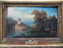 Ancien tableau Peinture à lhuile paysage maritime signé Jean Helleu