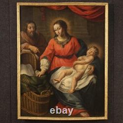 Ancien tableau Sainte Famille peinture huile sur toile religieux avec cadre 700