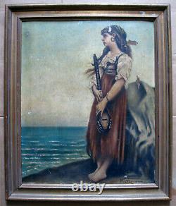 Ancien tableau Scène bord de mer musicienne peinture huile oil Signé Moreau