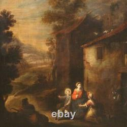 Ancien tableau Vierge à l'Enfant peinture religieuse huile toile 18ème siècle