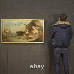 Ancien tableau angelots allégorie de l'hiver peinture huile toile 18ème siècle