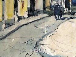 Ancien tableau aquarelle Place du tertre Paris Montmartre signé E. Marie Wild XXe