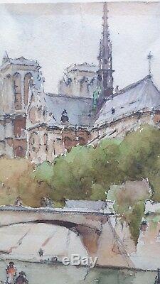 Ancien tableau aquarelle vue de seine Paris cathédrale notre dame