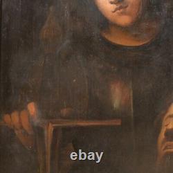 Ancien tableau biblique peinture huile sur panneau avec cadre 800 19ème siècle