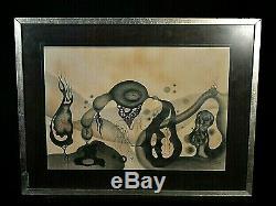 Ancien tableau composition surréaliste signé Iglesias pallafruguël Dali XXe