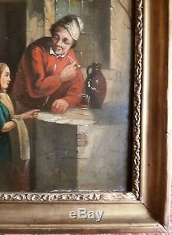 Ancien tableau école flamande peinture ancienne huile sur panneau hollande