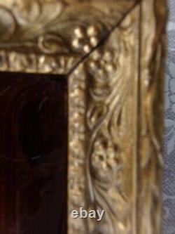 Ancien tableau en bois doré-peinture sur verre bombée-scène galante Louis XV