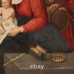 Ancien tableau flamand huile sur panneau Adoration des Mages peinture 600
