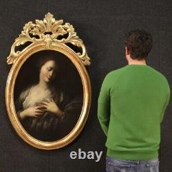 Ancien tableau français peinture huile sur toile portrait 700 18ème siècle