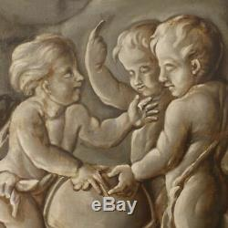 Ancien tableau grisaille huile sur toile peinture allégorie astronomie angelots