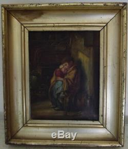Ancien tableau huile sur toile enfants misérables scène de genre peinture signé