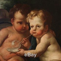 Ancien tableau huile sur toile peinture angelots 700 XVIIIème siècle avec cadre