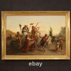 Ancien tableau huile sur toile peinture paysage Naples scène populaire 800