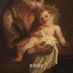 Ancien tableau huile sur toile peinture religieuse Saint Joseph Jésus XIXème