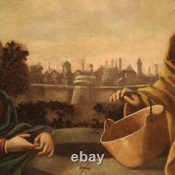 Ancien tableau huile sur toile religieux peinture italienne cadre 18ème siècle