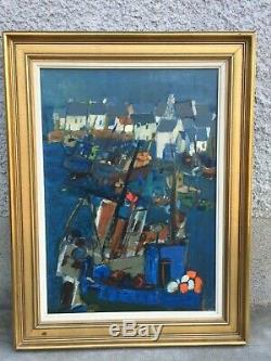 Ancien tableau huile sur toile signé QUERE RENE dahut île de sein peintre breton