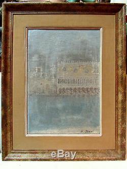 Ancien tableau huile sur toile vers 1930 signé déziré palais des doges venise