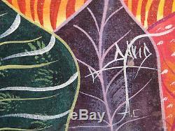 Ancien tableau huile toile peinture Haitienne Jungle Art Naif signé