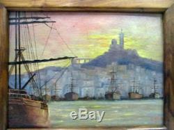 Ancien tableau, marine Port de Marseille signé A. Hugue