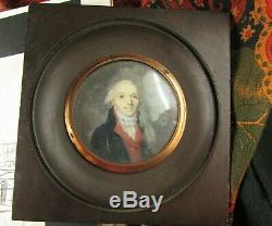 Ancien tableau miniature peinture huile AUBRY 1794 signé daté homme de qualité