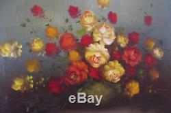 Ancien tableau nature morte bouquet de fleurs réaliste effets de reliefs XIXeme
