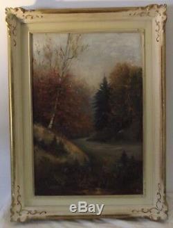 Ancien tableau nature morte paysage huile sur toile hst signé berta schutz XIX