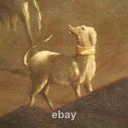 Ancien tableau paysage bucolique peinture huile sur toile bergers troupeau 700