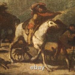 Ancien tableau paysage huile sur toile peinture avec cadre 700 18ème siècle