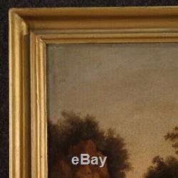 Ancien tableau paysage peinture huile sur toile XIXème siècle 800 antiquités