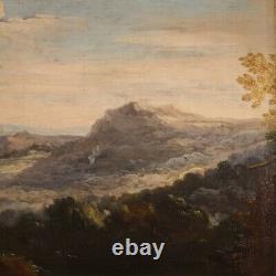 Ancien tableau paysage peinture huile sur toile cadre 600 17ème siècle