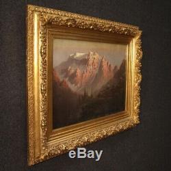Ancien tableau paysage peinture huile sur toile cadre signé 800 19ème siècle