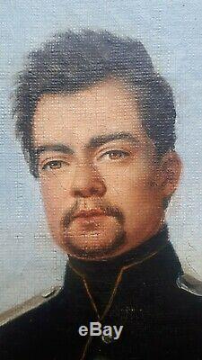 Ancien tableau peinture EDOUARD PINGRET portrait chevalier empire rare xix eme