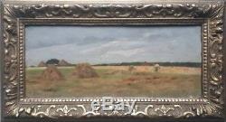 Ancien tableau peinture HSP paysage meules de foin GEORGES PERRICHON debut xx