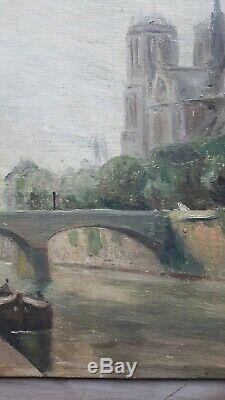 Ancien tableau peinture HST Paris cathédrale notre dame 1948