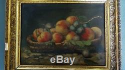 Ancien tableau peinture HST XIXè nature morte oil painting