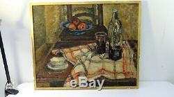 Ancien tableau peinture HST nature morte signée oil painting